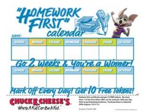 ChuckECheese HW 1st Calendar