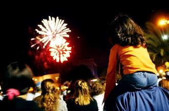 Girl and Dad Watch Fireworks