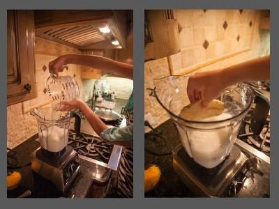 putting ingredients in mixer
