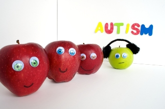 different types of apples against a white background and word autism