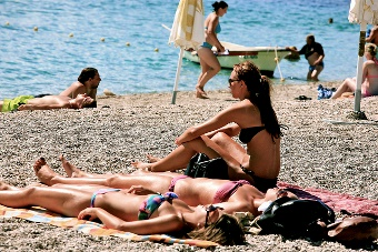Girls tanning at the beach