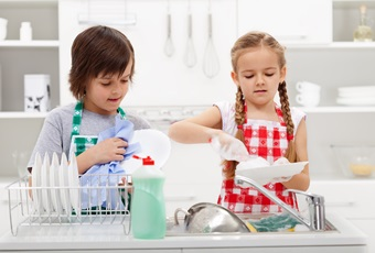 Kids washing the dishes in the kitchen