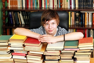 Teenager with books